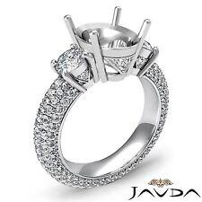 3 Stone Diamond Engagement Eternity Ring 14k White Gold Oval Semi Mount 2.8Ct