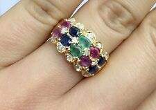 14K Solid Yellow Gold Two  Rows Band Diamond Ring, Mix Ruby Sapphire Emerald.