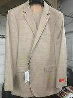 New 38S Men's SLIM Beige Suit 100% Wool Super 150 Made in Italy Retail $1295