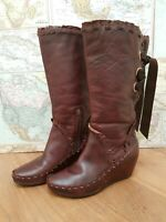 Pikolinos Ladies Brown Leather Boots EU 38 UK 5.5 Mid Calf Zip Leather Detail