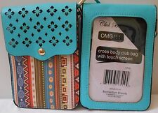 """CROSS BODY CLUB BAG WITH TOUCH SCREEN TURQUOISE SOUTHWEST PRINT 7"""" NWT"""