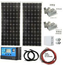 2 x 100W solar panel kit battery charger monocrystalline LCD controller complete