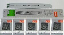 """Stihl Führungsschiene Rollomatic 35cm 3/8""""P 1,1mm 3005 000 3909 +5x Stihl Ketten"""