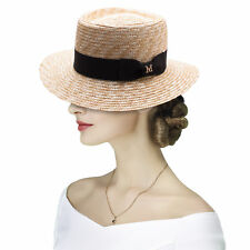 Womens Pork Pie Maize Straw Fedora Boater Summer Sun Beach Derby Hat A493