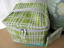 2pc Clinique Lime Green Squares on White Train Case Bag with Purse