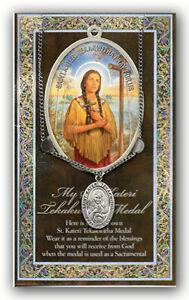 St. Kateri Tekakwitha Necklace with Embossed Prayer Pamphlet