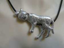 Cat sleeping on a black rubber lanyard pendant made sterling silver 925