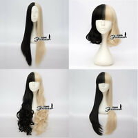 Straight/Curly/Wavy Black Mixed Blonde Women Girls Short/ Long Anime Cosplay Wig