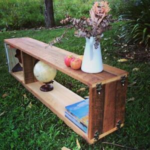 Rustic Wooden Stackable Bookshelf Bookcase Floating Display Shelf Storage Unit