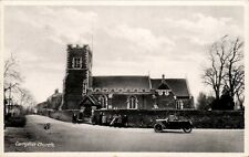 Campton near Shefford. Church. Three Wheel Motor Car.
