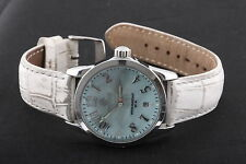 PASTORELLI WR 50M DATE BLUE GREEN FACE WHITE BAND NEW BATTERY WRISTWATCH 6690