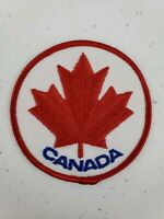 """Vintage Canada Red Maple Leaf 3"""" Round Patch Embroidered Canadian Souvenir Flag"""