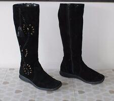 Black Suede CLARKS  Zip Studs Tassel Mid Calf Wedge Heel Boots Size 5.5 / 38.5