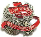 11769 HARLEY DAVIDSON PIN BADGE LIVE TO RIDE RIDE TO LIVE EAGLE SILVER & RED
