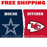 Dallas Cowboys vs Kansas City Chiefs House Divided Flag Banner 3x5 ft 2019 NEW