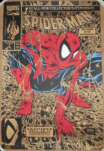 Spider-Man #1 Todd McFarlane Screen Print GOLD VARIANT Marvel Comics Poster #/90