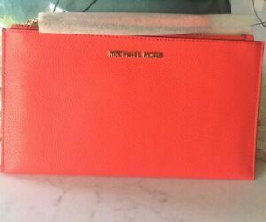 Michael Kors Jet Set Coral Large Zip Clutch Wristlet Pouch Pebble Leather $98