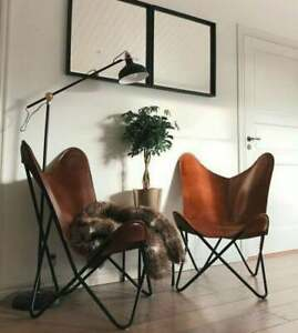Indoor Outdoor Sleeper Seat Handmade Buffalo Leather Butterfly Relax Arm Chair