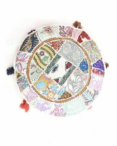 Vintage Handmade Patchwork Gypsy Ottomans Stool Sette Round Stool Pouf Cushion