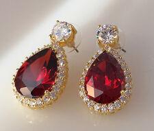 18K Yellow Gold Garnet CZ Women Fashion Jewelry Gift Stud Dangle Earring E0788-4