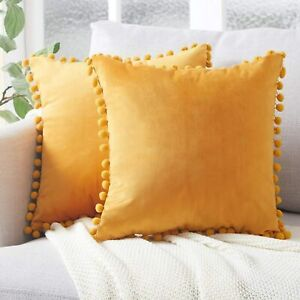 2x Velvet Mustard with Pompom Ball Cushion Covers Home Decoration