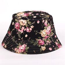 Bucket Hat Boonie Hunting Fishing Outdoor Floral Solid Cap Women Men Summer Hats