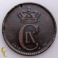 1876 Denmark 2 Ore Coin In VF Or Better, KM# 793.1