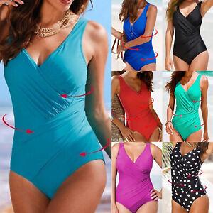 Women Plain Costume Tummy Control Monokini One Piece Swimsuit Swimwear Swimming