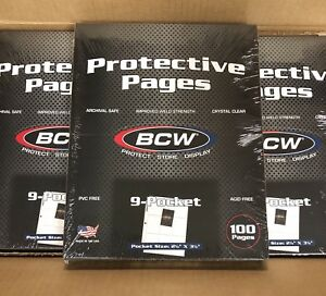 """Lot of 10 Pages x BCW 9-Pocket Pages Holds up to nine 2½"""" x 3½"""" cards (#CS70)"""