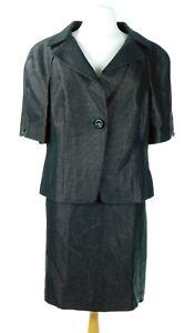NWT $348 Ann Taylor Women's Black Short Sleeve Suit Size 16 Jacket Size 12 Skirt