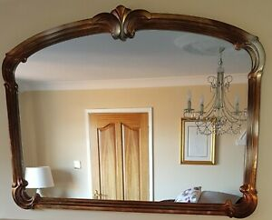 Large Overmantle Mirror 126cm x 88cm Antique Style Wood frame Gold/Silver/Black