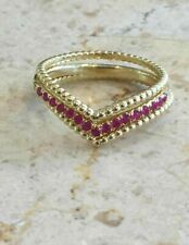 1ct Round Cut Ruby Engagement Ring Curved Chevron Trio Set 14k Yellow Gold Over