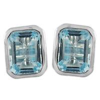 925 Sterling Silver eye catching Sky Blue Topaz Gemstone  Earring  2.15 gms