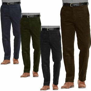 Corduroy Trousers Belted Formal Smart Pants  Mens Size