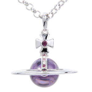 Vivienne Westwood Purple Glass Ball Purple Diamond Silver Necklace With Packing