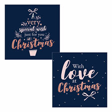 Pack of 10 Christmas Cards with Foil Detail - 8498 Rose Gold Wording