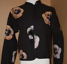 ATW Purple Pink Black Pansy Reversible LS Jacket Art To Wear M L Floral