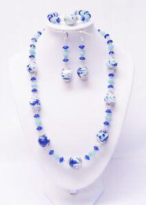 White/Blue/Green Ceramic w/Sapphire Disc Glass Bead Necklace/Bracelet/Earrings