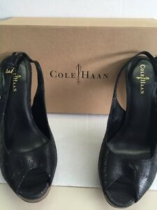 Cole Haan Women's Shoes Mariela Black Slingback Platform Heels Size 10.5 New