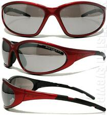 Elvex XTS Alien Red Safety Glasses Shooting Silver Mirror Lens Sunglasses Z87.1