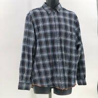 Carbon 2 Cobalt Mens Cotton Flannel Plaid Shirt sz L Large