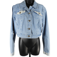 Cato Light Blue Lace Pocket Denim Jacket Women's Size XL