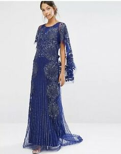 A Star Is Born Embellished Lace Cape Back Maxi Dress Navy Uk 6 RRP £ 300