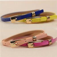Fashion Women Candy Colors Waist Belt Lady Girl Thin Leather Narrow Waistband