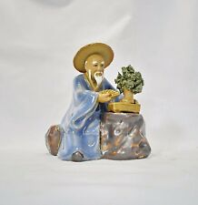 Bonsai Gärtner 13 Figur blau sehr groß Porzellan Deko Koi Asiatika