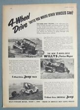 Original 1950 Jeep Ad 4-WHEEL DRIVE TAKES YOU WHERE OTHER VEHICLES CANT 8x11