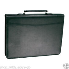 A4 Zipped Conference Folder Business Leather Document Case Bag Portfolio UK