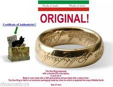 LORD OF THE RINGS L`UNICO ANELLO SCRITTE ORO 21MM UOMO il Signore Degli Anelli