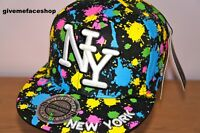 Salpicadura De Pintura Gorra visera plana, NY Ajustada, Hip Hop Béisbol Bling