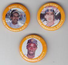 1984 Fun Foods Pins - San Francisco Giants - Team Set - 3 Pins - NrMt-Mt+